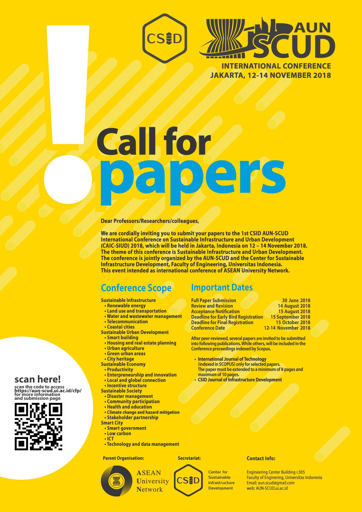 Call For Paper Aun Scud Universitas Indonesia